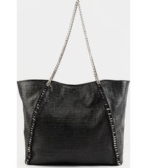 women's marcie chain link straw tote in black in black by francesca's - size: one size