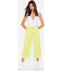 womens pass me the riding crop wide-leg jeans - lime