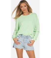travis le neon green crop pullover - slime green l
