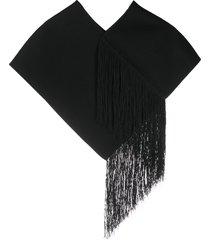 jil sander fringed oversized scarf - black