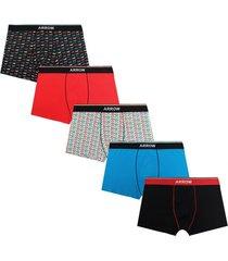 boxer 5 unidades design multicolor arrow