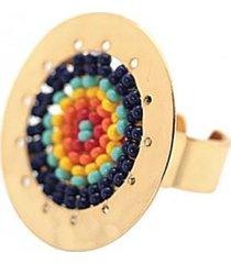 anillo imperial tejido a mano baño oro multicolor bijulovers