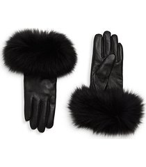 chic dyed fox fur leather gloves
