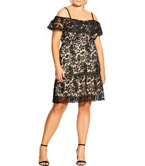 plus size women's city chic dream of lace cold shoulder dress