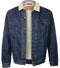 levi's mens sherpa classic blue jean denim trucker jacket fur