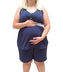 pijama plus size linda gestante short doll regata amamentação feminino