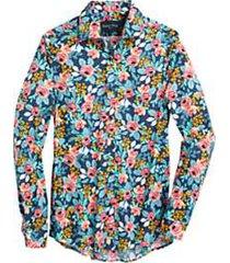 paisley & gray slim fit sport shirt navy & red poppy