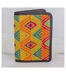 leather accent cotton passport wallet, 'diamond splendor' (guatemala)