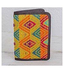 leather accent cotton passport wallet, 'diamond splendor' (guatemala)