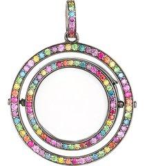 14k black gold diamond rainbow revolving locket - 22mm