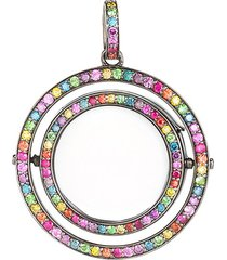 14k black gold diamond rainbow revolving locket - 22mm