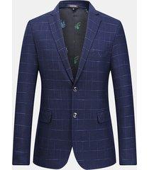 blazer blu scuro da uomo casual sottile eleganti plaid a quadri da uomo