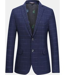 plaid blue royal business casual slim elegante checkered blazer per uomo