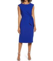 women's tahari cap sleeve crepe sheath dress, size 2 - blue
