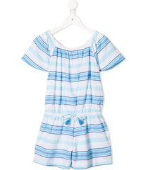 sunuva striped drawstring playsuit - blue