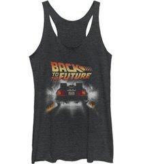 fifth sun back to the future retro delorean peel out tri-blend racer back tank