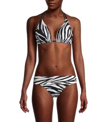 la blanca women's zebra-print halter bikini top - cream - size 10