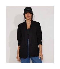 blazer feminino longo com bolsos manga 7/8 preto