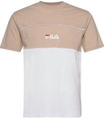 men anoki blocked tee t-shirts short-sleeved beige fila