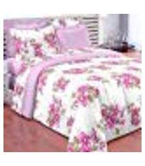 enxoval para cama queen floral lilás completo 7 peças 100% algodão 150 fios