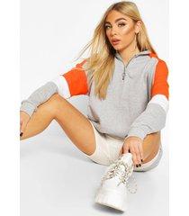 half zip colour block arm hoodie, orange
