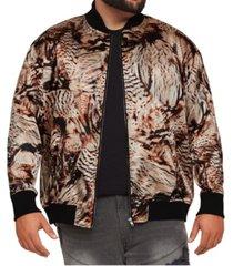 men's big & tall mvp collections satin animal/feather print bomber jacket