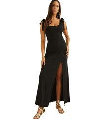 vestido sl tessa maxi dress jblk negro guess