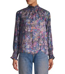 floral high-neck blouse