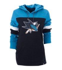 majestic women's san jose sharks colorblocked fleece sweatshirt