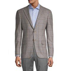 hickey freeman men's milburn ii regular-fit check wool jacket - brown - size 40 r