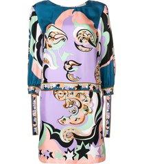 emilio pucci multi printed cuffed shift dress - pink