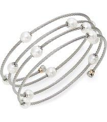 alor women's classique 1.6mm white round freshwater pearl, 18k white gold & stainless steel bracelet