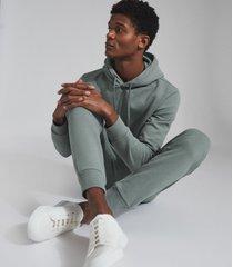 reiss berwick - garment-dye hoodie in dark sage, mens, size xxl