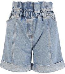 philosophy di lorenzo serafini ruffled waist denim shorts