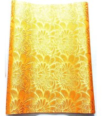 """1 pcs embroidered orange african head-tie sego gele ikepele 2.5 yards x 18"""" inch"""