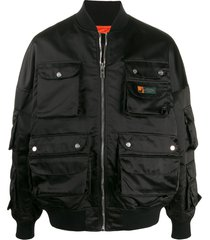 palm angels hunting bomber jacket - black