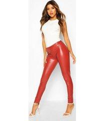 leather look stretch ankle grazer leggings, terracotta