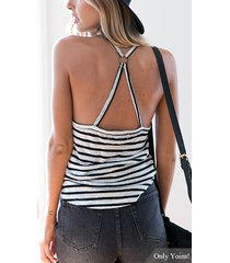 sexy stripe patrón halter cuello top sin espalda