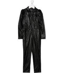 monnalisa leather-effect zipped jumpsuit - black