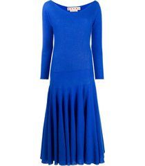 marni boat-neck long knitted dress - blue