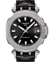men's tissot t-sport automatic leather strap watch, 48mm
