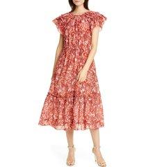 women's ulla johnson arlene ruffle tiered midi dress, size 0 - orange