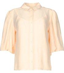 bewerkte blouse met pofmouwen lecce  naturel