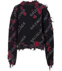 balenciaga man black, grey and red small destroyed round-neck pullover