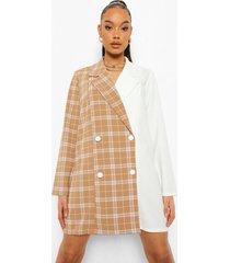 oversized geruite gesplitste blazer jurk, ivory
