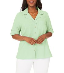 foxcroft blair cotton button-up shirt, size 24w in aloe at nordstrom