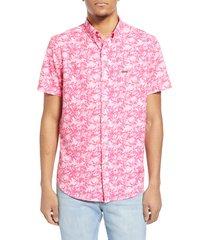men's vintage summer flamingos water repellent short sleeve button-down shirt