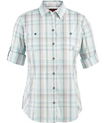 wolverine women's sidney roll-sleeve shirt aqua plaid, size xl