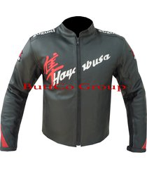 suzuki hayabusa black cowhide leather motorcycle motorbike biker jacket