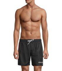 roberto cavalli men's logo drawstring shorts - black red - size m